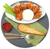 Spicy Chicken Wings with Celery Sticks and Ranch Royalty Free Stock Photo