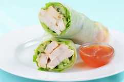 Spicy chicken wrap. With sweet chili sauce Royalty Free Stock Photos