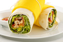 Spicy Chicken Wraps Royalty Free Stock Images