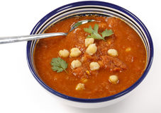 Spicy chickpea and tomato soup Stock Images