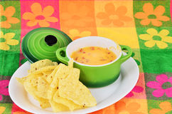 Cheese Dip and Chips Stock Photos