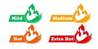 Spicy chili hot pepper level labels. Vector spicy food green mild, medium and red extra hot, jalapeno pepper fire flame. Sauce package icons royalty free illustration