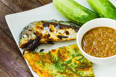 Spicy chili paste and grill mackerel Stock Photo