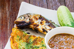 Spicy chili paste and grill mackerel Stock Image