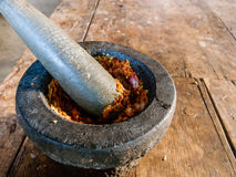 Spicy chili paste making on stone mortar Stock Image