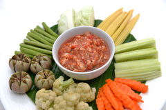Spicy Chili Paste with vegetables, thai food Stock Image