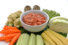 Spicy Chili Paste with vegetables, thai food Stock Photo