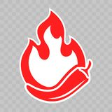 Spicy chili pepper and hot fire flame icon. Vector spicy fast food and sauce package fire burn label. Sticker royalty free illustration