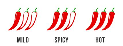 Free Spicy Chili Pepper Level Labels. Vector Spicy Food Mild And Extra Hot Sauce, Chili Pepper Red Outline Icons Stock Photo - 146169340