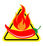 Spicy Chili Pepper warning sign Stock Photography