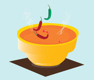 Spicy chili soup (bowl) Royalty Free Stock Photos
