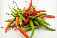 Spicy chili. Chili take with white background.It have raw,middle,ripe chili so beauty color Stock Image