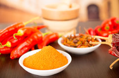 Spicy chilli aji chili varieties. Spicy chilli aji chile varieties powder dried fresh on a table selective focus Royalty Free Stock Photos
