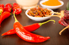 Spicy chilli aji chili varieties. Spicy chilli aji chile varieties powder dried fresh on a table selective focus Stock Image