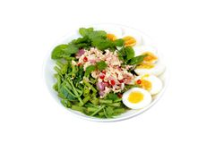 Spicy Chinese morning glory salad with boiled egg topped pork ch Royalty Free Stock Images