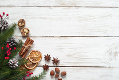 Spicy Christmas background. Baking ingredients. stock images