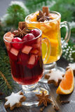 Spicy Christmas drinks and cookies Stock Photos
