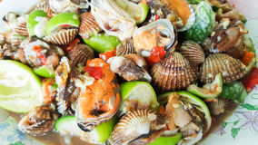 Spicy cockle salad, yum hoi krang Royalty Free Stock Photo