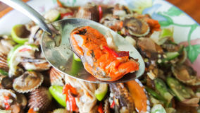 Spicy cockle salad, yum hoi krang Stock Images