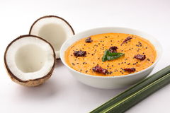 Spicy coconut chutney.with coconuts Royalty Free Stock Image