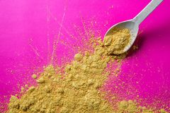Spicy colorful cuisine with golden yellow spice spread, graphical design Royalty Free Stock Photography