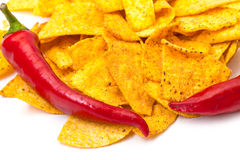 Spicy Corn Chips with Chilli Pepper Stock Photos