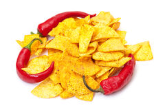 Spicy Corn Chips with Chilli Pepper Royalty Free Stock Photography
