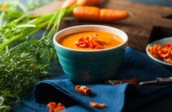 Spicy cream carrot soup Royalty Free Stock Photography