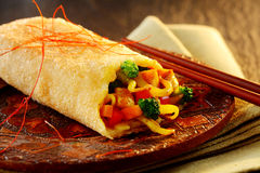 Spicy crispy spring roll with vegetable filling Stock Images