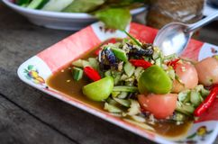 Spicy cucumber salad that is one type papaya salad. Som Tum spicy. Thai food Royalty Free Stock Photos