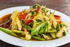 Spicy cucumber salad. Spicy cucumber salad that is one type papaya salad. Som Tum spicy thai food Stock Photos