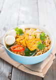 Spicy curry instant noodles. Royalty Free Stock Image