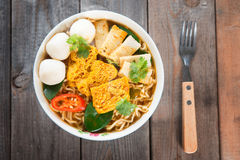 Spicy curry instant noodles Stock Photo