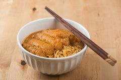 Asian food Hot Curry Laksa Noodles Stock Photography