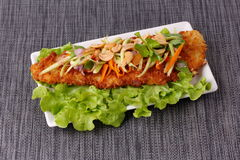 Spicy deep-fried Dolly`s fish salad with roll green mango. Stock Photos