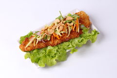 Spicy deep-fried Dolly`s fish salad with roll green mango. Stock Images