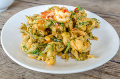 Spicy Deep Fried Morning Glory Salad Stock Photos