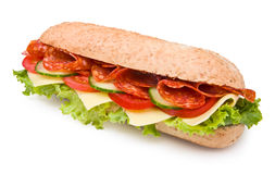 Spicy Deli-style Salami Sandwich Isolated On White Stock Photo