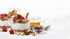 Spicy dessert with sweet granola, raspberries and yogurt. In the glass on white background, closeup Royalty Free Stock Photography