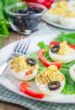 Spicy deviled eggs Stock Images