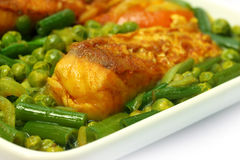 Spicy dish of rohu fish. On a white bowl Royalty Free Stock Image