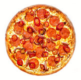 Spicy dragon pizza with sausage. And peppers Stock Photo