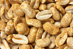 Spicy dry roasted peanuts detail from above. Royalty Free Stock Images
