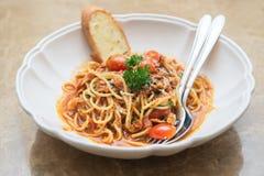 Spicy ebiko  spaghetti Royalty Free Stock Photography