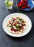 Spicy Fajita with Grilled Aubergine, Feta and Chili Pepper Royalty Free Stock Photo