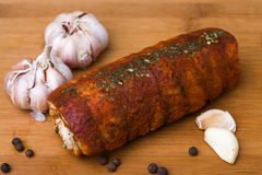 Spicy fat roll with garlic Royalty Free Stock Photo