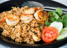 Spicy fire rice with herbs and shrimp Stock Photography