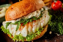 Spicy fish burger with rocket and dill stock photography