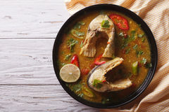 Spicy fish curry with cilantro on the table. horizontal top view Stock Image