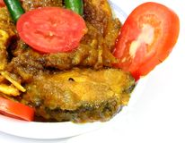 Spicy Fish curry. With tomato & chillis over white background Stock Images